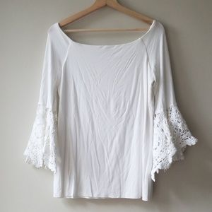 Bailey 44 Turkish Crochet Sleeve Top Shirt Blouse
